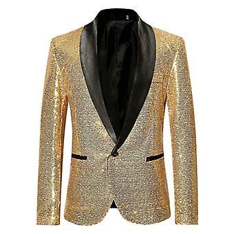 Shiny Gold Sequin Bling Glitter Suits, Jacket Men Shawl Collar Club, Dj Mens