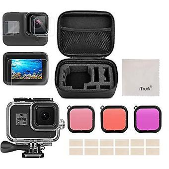 Accessories for gopro hero 8 black, itrunk 24 in 1 accessories kit shockproof small case waterproof