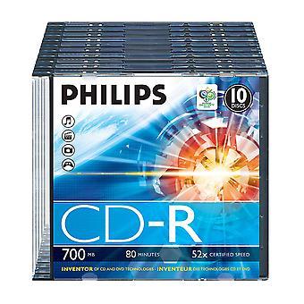 Philips cdr-80 (52x) 10pk ohut jalokivikotelo 10er sc