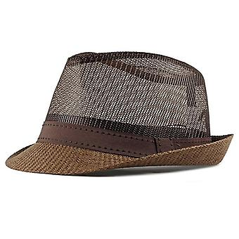 Summer Straw Retro Men's Fedoras Top Jazz Plaid Hat Bowler Cap Classic Version
