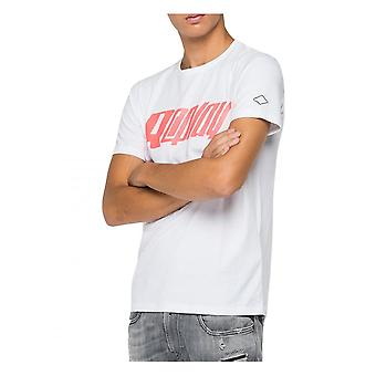 Replay Jeans Replay Mens Cotton Logo Chest T Shirt White