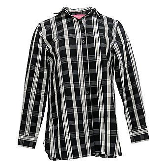 Isaac Mizrahi Live! Women's Top Button Front Shirt Black A389680
