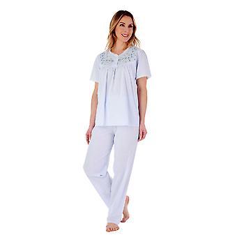 Slenderella PJ3271 Women's Cotton Embroidered Pyjama Set