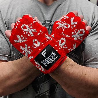 """Forza Sports 180"""" Mexican Style Boxing and MMA Handwraps - Autism Awareness Red"""