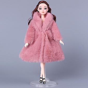 1set Long Sleeve Soft Fur Coat Tops Dress Winter Warm Casual Wear Accessories