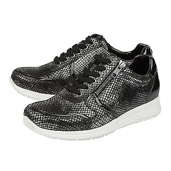 Lotus Stressless Black Pewter & Snake Leather Shira Casual Trainers