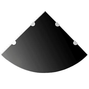 Corner Shelf With Chrome Supports Glass Black 45x45 Cm