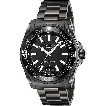 Gucci Ya136205 zwarte wijzerplaat roestvrij staal riem horloge voor mannen