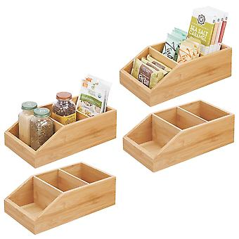 mDesign Bamboo Wood Kitchen Pantry Food Storage Divided Bin - 4 Pack