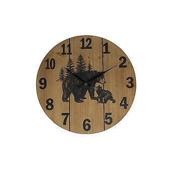 Black Bear Print 15 Inch Diameter Round Wood Grain Wall Clock