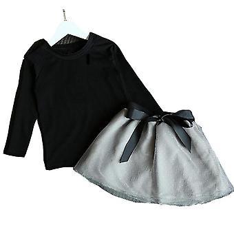 Baby-Kleidung, Katze Cartoon langarm T-shirt und Hose/Rock Set
