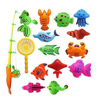15 Pcs In 1 Set Magnetic Fish Toys Interesting Fishing Game Set Kids Eduational Supplies With Handy Net Cartoon And Fishing Rod For Baby Children (ran