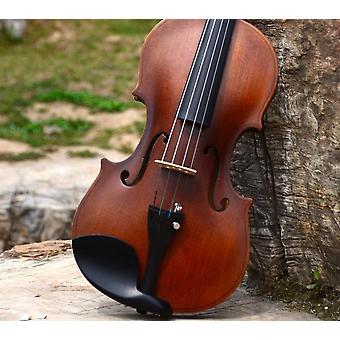 V01 Stradivari Beginner Violin Antique Maple Handmade Musical Instrument &