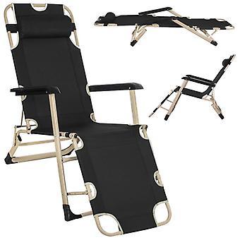 Tuin ligstoel met ergonomische hoofdsteun - Zwart/Creme