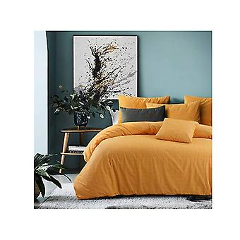 Amsons Raw Amber Cotton Quilt Cover Set Textured Print Yellow