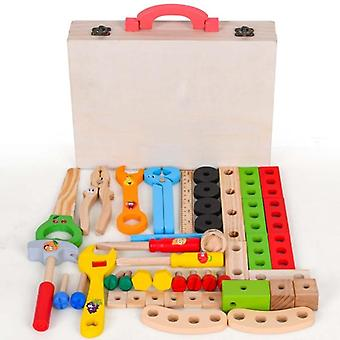 Children Wooden Toolbox Kit, Simulation Diy Repair Tool Set, Play House,