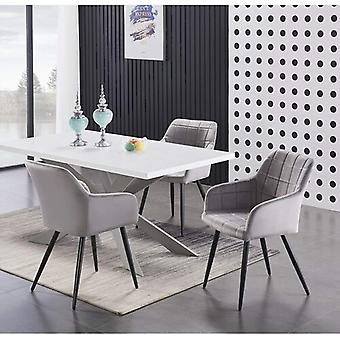 Lusso & Enzo Dining Set | Modern Dining Table | Velvet Dining Chair | Modern Set |  (white/grey & Light Grey)
