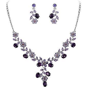 FengChun Damen Schmuckset sterreichische Kristall Hochzeiten Blatt Weinlese n Halsketten Ohrringe