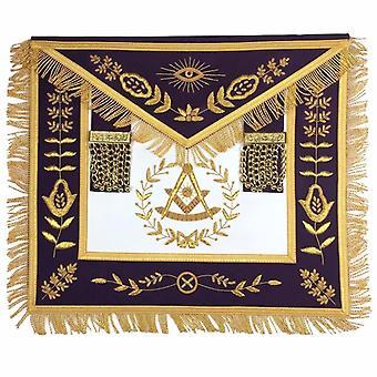 Freimaurer blau Lodge vorbei Meister gold handgemachte Stickerei Schürze lila samt