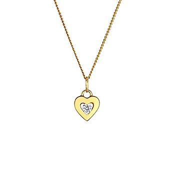 Elli PREMIUM Women's Necklace Precious Heart Pendant with Yellow Gold Crystals 585