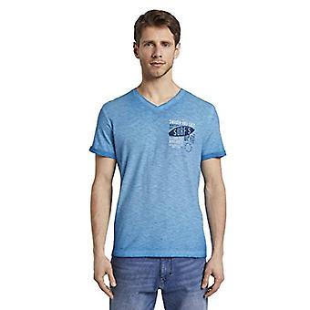 Tom Tailor Surf Print T-Shirt, 16341/Bright Medium Blue, S Men's