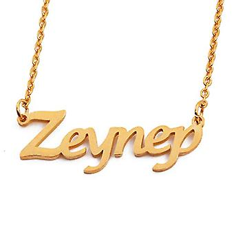 """L ZEYNEP - 18-carat gold plated necklace, with customizable name, adjustable chain of 16""""- 19"""