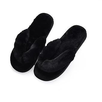 Mode päls kvinnor höst vinter varm platt flip flops toffel