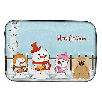 Caroline's Treasures Merry Christmas Carolers Pekingese Fawn Sable Dish Drying Mat, 14 X 21