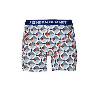 Fisher & Bennet Fisher och Bennet Mens bomull Stretch multi färgade kontrollera boxershorts