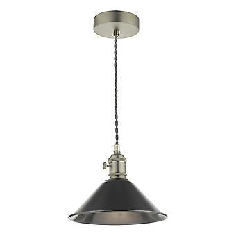 DAR HADANO Dome Vedhæng Light Antikke Chrome med antikke Tin Shade, 1x E14