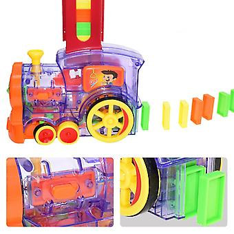Kids Domino Train Car Set Sound Light Automatic Laying 80pcs Domino Brick Colorful Dominoes Blocks Game Educational DIY Toy Gift
