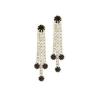 Ikuinen kokoelma Grandeur musta ja kirkas diamante kulta sävy pudota clip korvakorut