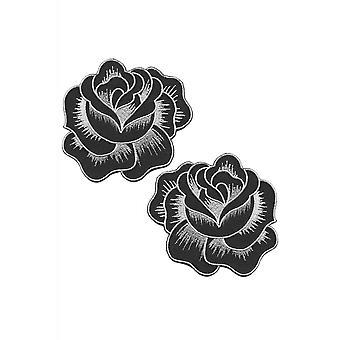 Sourpuss Clothing Black Roses Patch Set