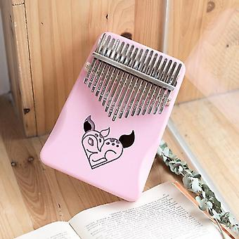 Kalimba 17 key thumb piano cute cartoon pink girl gift musical instruments mbira child beginners portable finger