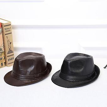 Brytyjski styl prosty all-match Pu Skórzany kapelusz formalny kapelusz z curling verge