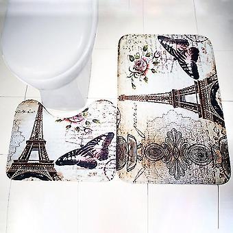 2pcs/set Paris Eiffel Tower Non-slip Bathroom Toilet Pedestal Rug + Bath Mat