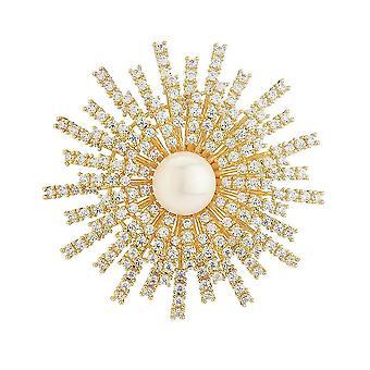 Adorável Broche Pin Girassol Corsage Diamante Inlaid Liga Senhoras Broche