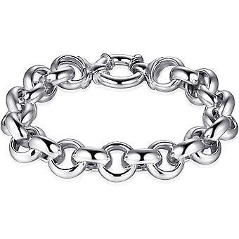Gisser Jewels - Jasseron Armband med Feather Eye Closure - 12.5mm Bred - Längd 19cm - Gerhodineerd Zilver 925