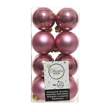16 Small Velvet Pink 4cm Shatterproof Christmas Tree Bauble Decorations