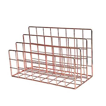 3-Layer Iron Storage Shelf Rose Gold Stand Hollow Paper Letter Holder File Document Office Desk