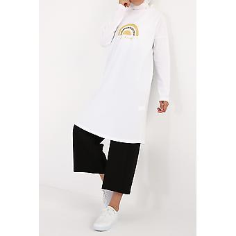 Be Kind Printed Cotton Long Sleeve T-shirt Tunic
