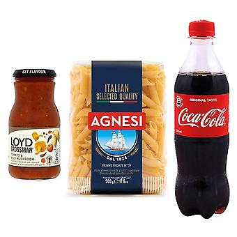 Seven Trees Farm Kit with 3 products | 1 x Coca Cola, 1 x Tomato & Wild Mushroom Sauce, 1 x Italian Penne Pasta, Enjoy a portion of delicious penne and cool off with a cola!