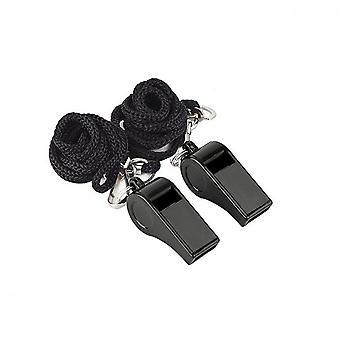 Negro plástico entrenador de deportes silbar con cordón(2 Pcs)