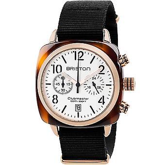 Briston 17140.pra.t.2.nb Mens Clubmaster Classic Kronograf Vit Och Svart Nylon Klocka