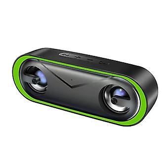 Altoparlante Bluetooth con luci a LED, LENRUE 10W Altoparlante impermeabile portatile IPX5 per esterni con corda, suono HD, tempo di riproduzione 24 ore, bassi avanzati, altoparlanti wireless da 66 piedi per telefono, laptop, festa, barbecue, casa, viaggi (verde)