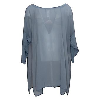 WynneLayers Women's Plus Top Mixed Media Dolman-Sleeve Tunic Blue 694604