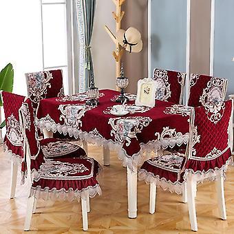 Kant borduurwerk kwaliteit Chenille eetkamerstoel kussen cover salontafel / rond