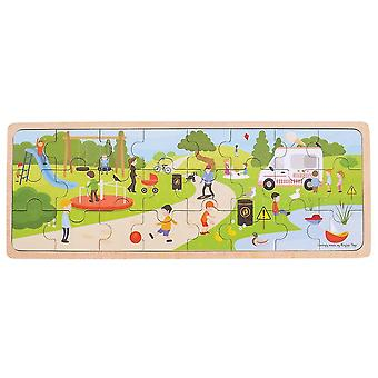 Wooden pegged puzzles in the park puzzle - tray puzzle