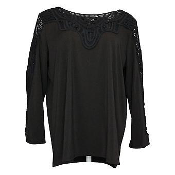 Antthony Women's Top Bracelet-Sleeve Crochet Knit Tunic Black 716479