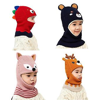 2 To 6 Years Old Boy Girl Beanie Protect Neck Cartoon Animal Windproof Winter Child Knit Hat Kids Girl's Earflap Caps